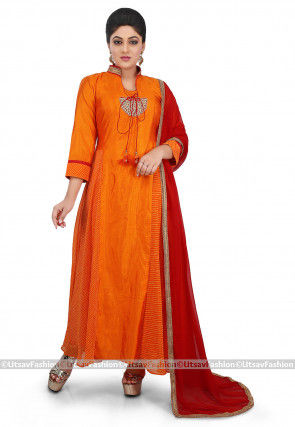 Leheriya Art Silk Abaya Style Suit in Orange