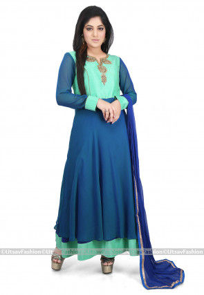Hand Embroidered Neckline Georgette Abaya Style Suit in Teal Blue