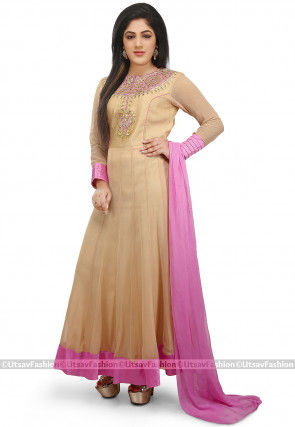 Embroidered Faux Georgette Abaya Style Suit in Beige
