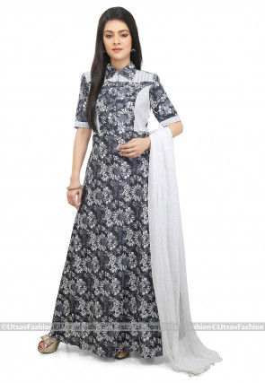 Printed Cotton Abaya Style Suit in Grey