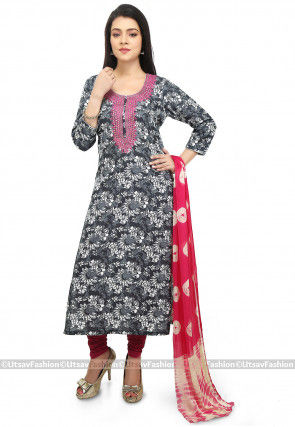 Printed Cotton Straight Suit in Grey