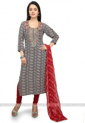 Printed Rayon Straight Suit in Black and Beige