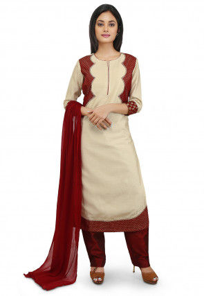 Jacket Style Cotton Silk Straight Suit in Off White