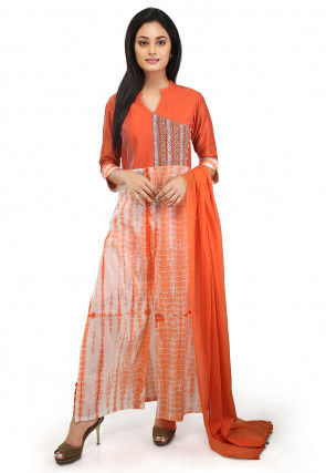 Tie N Dyed Cotton Abaya Style Suit in Orange and Off White