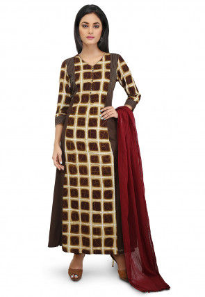 Printed Cotton Abaya Style Suit in Brown