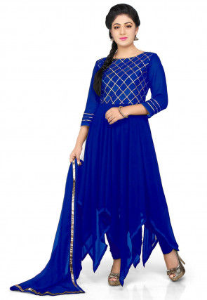 Embroidered Georgette Asymmetric Anarkali Suit in Royal Blue