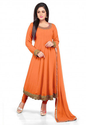 Plain Georgette Anarkali Suit in Pastel Orange