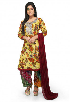 Printed  Bhagalpuri Silk Straight Suit in Light Yellow