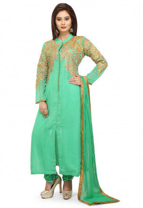 Embroidered Georgette Straight Cut Suit in Sea Green