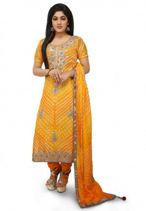 Embroidered Art Silk Straight Cut Suit in Mustard