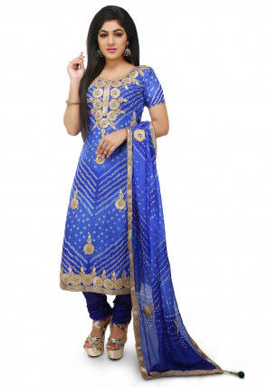 Embroidered Art Silk Straight Cut Suit in Dark Blue