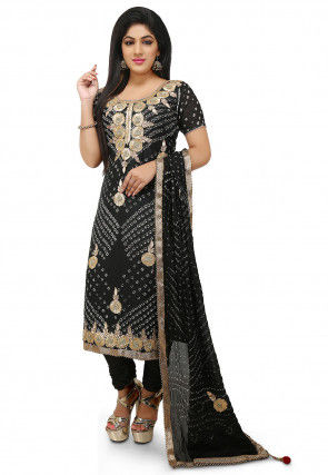 Embroidered Art Silk Straight Cut Suit in Black