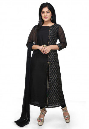 Block Printed Chanderi Cotton A Line Suit in Black
