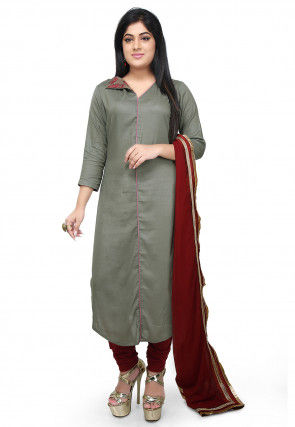 Plain Rayon Straight Suit in Dusty Green