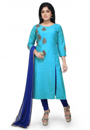 Embroidered Cotton Silk A Line Suit in Blue