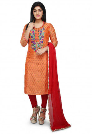 Embroidered Chanderi Cotton Straight Suit in Orange