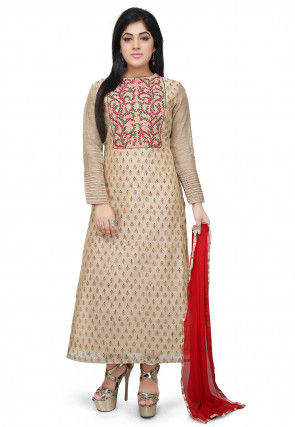 Embroidered Chanderi Cotton A Line Suit in Beige