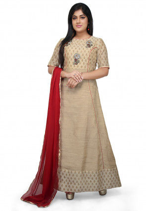 Embroidered Cotton Silk Abaya Style Suit in Beige