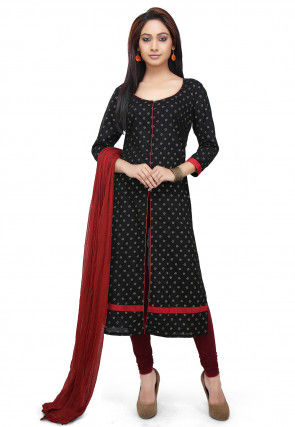 Block Printed Cotton Straight Suit in Black