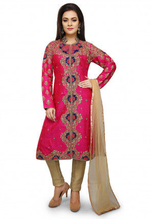 Hand Embroidered Pure Silk Pakistani Suit in Fuchsia
