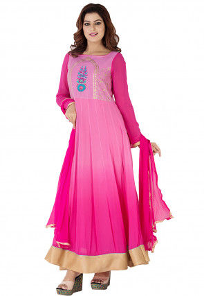 Embroidered Georgette Abaya Style Suit in Pink Ombre