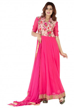 Floral Printed Georgette Abaya Style Suit in Fuchsia