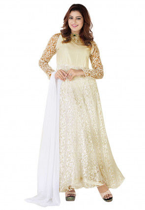 Woven Georgette Brasso Abaya Style Suit in Off White