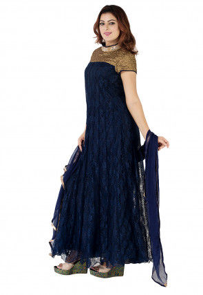 Woven Chantelle Net Abaya Style Suit in Navy Blue