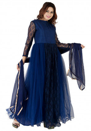 Plain Net Abaya Style Suit in Navy Blue