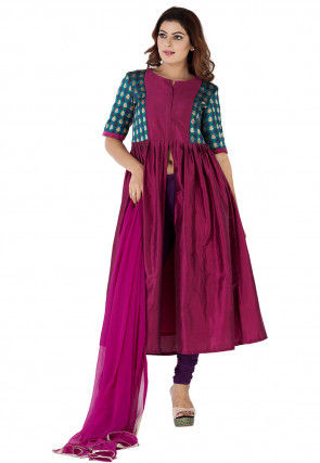 Woven Yoke Cotton Silk Front Slit A Line Suit in Magenta