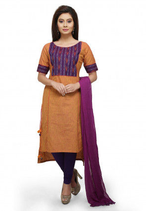 Ikkat Printed Cotton Straight Suit in Orange
