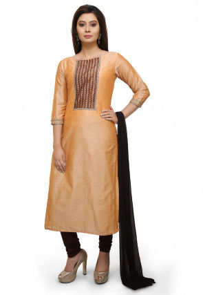 Contrast Yoke Cotton Silk Straight Suit in Pastel Orange