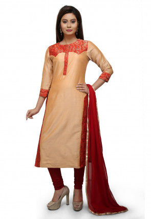 Plain Cotton Silk Straight Suit in Pastel Orange