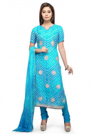 Bandhej Art Silk Straight Suit in Turquoise