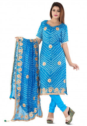 Bandhej Art Silk Straight Suit in Blue