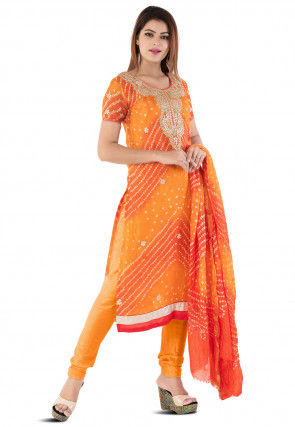 Bandhej Art Silk Straight Suit in Shaded Orange
