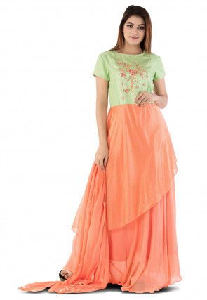 Hand Embroidered Georgette Abaya Style Suit in Orange and Green