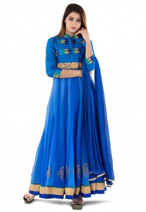 Block Printed Georgette Abaya Style Suit in Shaded Blue