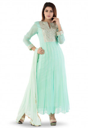 Gota Patti Georgette Abaya Style Suit in Sea Green