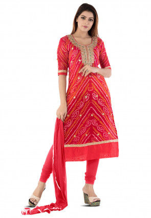 Gota Patti Pure Crepe Straight Suit in Red