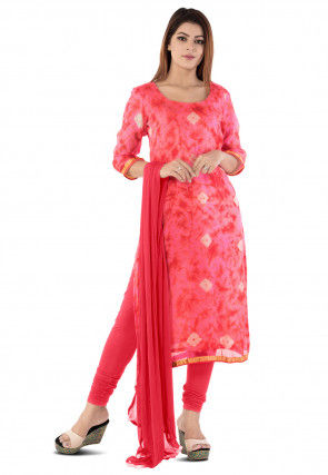 Tie N Dye Printed Pure Kota Silk Straight Suit in Pink