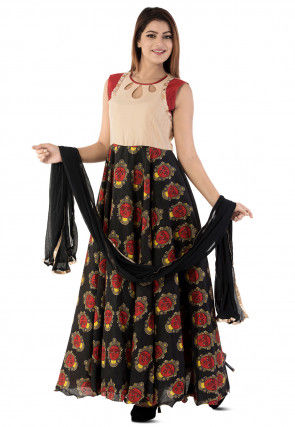 Printed Bhagalpuri Silk Abaya Style Suit in Black and Beige