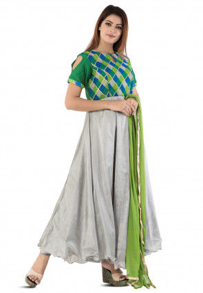 Printed Dupion Silk Abaya Style Suit in Grey and Multicolor