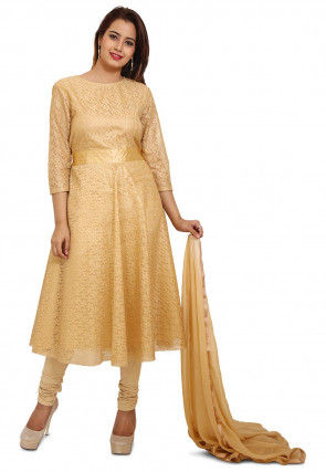Plain Chantelle Net Anarkali Style Suit in Beige