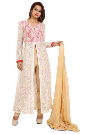 Emroidered Chantelle Net Abaya Style Suit in Off White