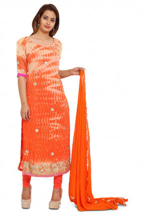Embroidered Georgette Straight Suit in Beige and Orange