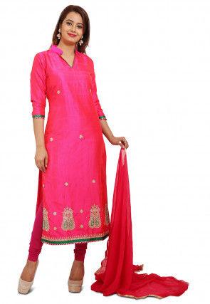 Embroidered Art Banarasi Silk Straight Suit in Fuchsia