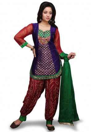 Chanderi Silk Punjabi Suit in Purple and Red