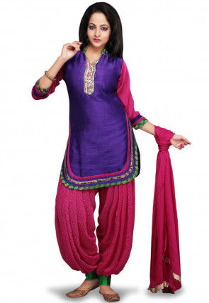 Embroidered Dupion Silk Punjabi Suit in Purple and Pink