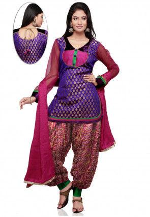 Chanderi Brocade Punjabi Suit in Purple